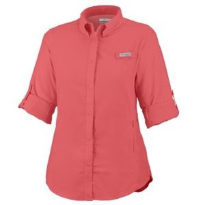 COLUMBIA coral women's button down top